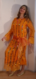 Saidi netjurk WARM GEEL transparant met multicolor plastic muntjes, lange mouwen - YELLOW transparent saidi bellydance dress with plastic glitter coins, long sleeves