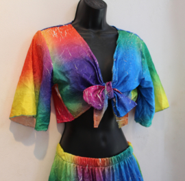 FLUO NEON MULTICOLOR Rainbow set, Gipsy set 2 delig : strokenrok + knooptopje - XS S M - Gypsy costume, Rainbow set, 2-piece FLUORESCENT MULTICOLOR : ruffled skirt + tie top
