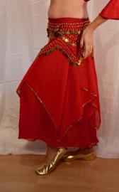 Rok orientaals tulpmodel ROOD goud afgeboord met pailletten - XS, S, M - Skirt oriental tulip RED golden sequin rimmed