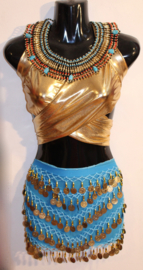 Muntjes gordel op  chiffon TURQUOISE TURKS BAUW met GOUD - G34 - Coinbelt chiffon TURQUOISE TURKISH BLUE with GOLDEN coins and beads