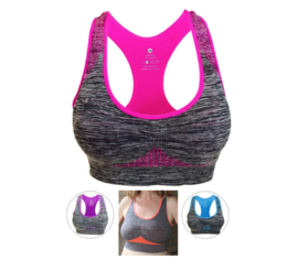 Comfortabel, Naadloos Sport fitness yoga topje van stretch polyester elastane GRIJS + 5 FELLE KLEUREN (ROZE, ORANJE, PAARS, BLAUW, ZWART) - one size - Seamless, stretch sports yoga fitness top GREY + 5 BRIGHT COLORS (PINK, ORANGE, PURPLE, BLUE, BLACK)