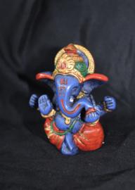Ganesha Hindoe godheid beeldje multicolor BLAUW - 7,5 cm - Ganesha Hindu statue elephant deity BLUE