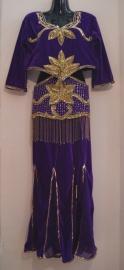 3-delig Orientaals fluwelen kostuum PAARS GOUD : bloesje, pailletten-riem, rok - L Large, XL Extra Large -  3-pce Oriental costume PURPLE GOLD  blouse + belt + skirt