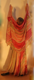 "2-delige set : 2-lagen wijde Rok + rechthoekige Sluier set multicolor chiffon ""Pastel"" ZACHT GROEN, ZACHT BRUIN ROOD / WIJNROOD - M, L, XL, XXL - 2-piece multicolor chiffon set : 2-layer skirt + rectangle veil ""Pastel"""