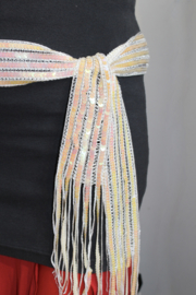 Pailletten riem / ceintuur met franje, PARELMOER WIT - Sequinned fringe belt WHITE MOTHER OF PEARL