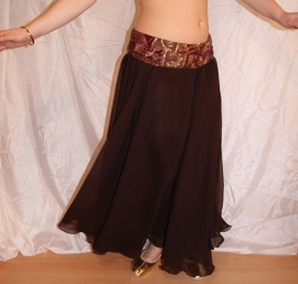 Cirkelrok chiffon DONKER BRUIN licht transparant - Full Circle skirt DARK BROWN slightly transparent