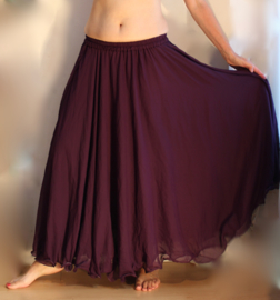 2-lagen rok met golvende zoom  DONKER PAARS - S, M, L, XL - 2 layer skirt DEEP PURPLE