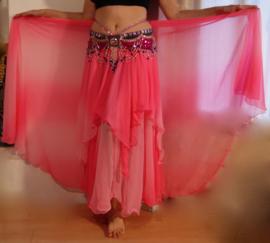 2-delig  Rok + Sluier setje bicolor chiffon  FLUO ROZE ROSE ombré - one size - 2-piece set : Skirt + Veil halfcircle BRIGHT PINK ombré