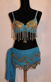 "Pailletten bh TURQUOISE GOUD "" Yasmin"" met kralen franjes - sequinned bra TURQUOISE BLUE GOLD "" Yasmin "" with beaded fringe"