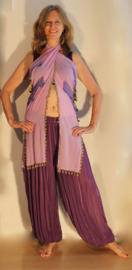 Sarong gordel met kralenhaakwerk LILA, versierd met PAARS en GOUD - Extra Large XL, XXL, XLong - Sarong hipshawl hipscarf LILAC, Egyptian handycraft, crocheted decorated with PURPLE and GOLD