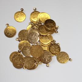 Losse Goudkleurige metalen muntjes met bevestigingsoogje- 19 mm diameter - Loose GOLDEN Metal coins with external eye