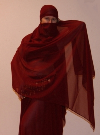 Sluier rechthoekig chiffon BORDEAUX DONKER ROOD - veil rectangle chiffon WINERED / DARK RED / BURGUNDY
