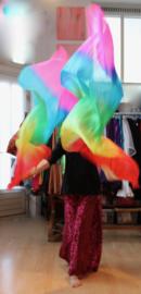 2 Sluier waaiers Regenboog kleuren - 2 Fanveils Rainbow colors