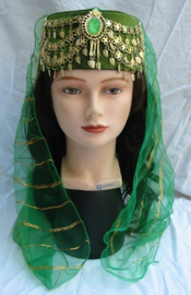 1001 Nacht Fez dames GROEN GOUD met sluiertje en sieraad - Lady head gear hat for 1001 Night GREEN GOLD