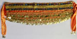 ORANJE Fluwelen buikdansgordel met 2 rijen gekleurde steentjes en GOUDEN munten  - GS oranje gold  - ORANGE coinbelt with GOLDEN coins with 2 rows of colored stones