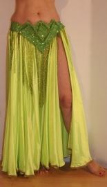 Buikdansrok fluo licht geel GROEN met 2 splitten - L XL XXL - Bellydance skirt fluorescent light yellowish  NEON GREEN 2 slits