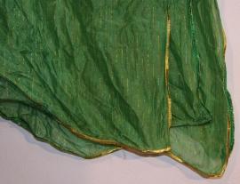 Sluier rechthoekig GROEN chiffon met REGENBOOG glimstreepjes, afgeboord met GOUD - veil rectangle chiffon GREEN, with RAINBOW tread, GOLD rimmed