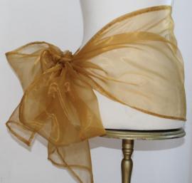 GOUDEN organza smalle sjaal sluier hoofdsluier hoofdband heupsjaal - Organza small veil shawl headband GOLD