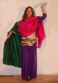 Bollywood sluier FUCHSIA DONKERGROEN GOUD rechthoekig, niet transparant - Bellywood veil - Bollywood veil FUCHSIA, DARK GREEN, GOLD rectangle, not transparent