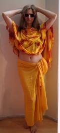 Sarong foulard shawl geel oranje rood met spiegeltjes
