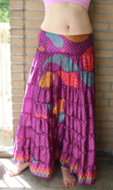 Strokenrok PAARS MULTICOLOR zijde - one size fits S, M, L - Ruffled skirt PURPLE MULTICOLOR silk