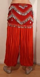 Harembroek katoen met glimstreepje ROOD - one size - Harempants cotton RED - Saroual ROUGE