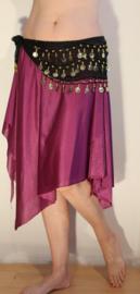 Soepel Asymmetrisch 6-Punten rokje met splitjes PAARS - one size - Asymmetrical 6-points skirt with slits PURPLE