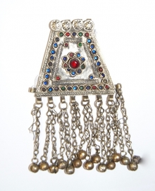 Pendant trapezium vorm met RODE en BLAUWE geslepen glaskralen en achten ingelegd - Vintage Pendant16 - Pendant trapezium with RED and BLUE glass beads and figure 8 inlay