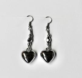 Lichtgewicht hartjes oorbellen ZILVER kleurig - Zilver1 - Lightweight hearts earrings SILVER color