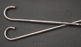 De originele dikkere asaya Stok met krul voor saidi stokdans  ZILVER - 100 cm / diameter 1,7 cm - 2 cm - The authentic, thicker cane for saidi cane dance Asaya SILVER