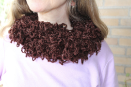 Gehaakte, lussen 'sjaal' BRUIN met zilveren glitterdraad - 150 cm - Braided shawl BROWN, with SILVER thread