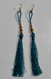 Lichtgewicht kwasten Oorbellen AQUA GROENE met GOUD - Extra Long - Lightweight tassel Earrings with WATER GREEN and GOLD