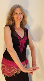 2-delig : transparante gehaakte jurk  ZEER DONKER BRUIN / FUCHSIA + bijpassende onderjurk - M L XL - 2-piece : transparent crocheted dress  VERY DARK DEEP BROWN, FUCHSIA PINK + matching under dress