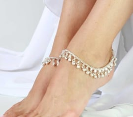 1 paar Enkelbandjes ZILVER kleurig - Medium/Large 25 cm - 1 pair of SILVER colored anklets