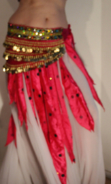 38-punten rok FUCHSIA / FEL ROZE satijn met bolletjes en pailletten versiering - 38-Points skirt FUCHSIA BRIGHT PINK satin, polka dot and sequins decorated