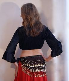 Fluwelen bloesje top 3/4 mouwen ZWART - L Large,  XL Extra Large- Velvet bellydance top blouse with 3/4 sleeves BLACK