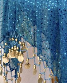 TURQUOISE glitter 4 punten Jasmin rokje meisje met kraaltjes en muntjesversiering - 4 points Yasmin glitter skirt, TURQUOISE, GOLDEN coins and beads decorated, girls