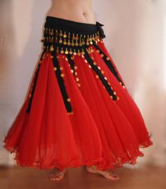 2-lagen rok met golvende zoom RED - one size (tot XL) - 2 layer skirt RED