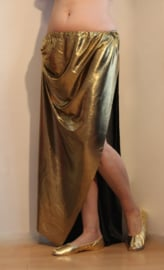 Glanzende, rechte, GOUDEN 2 splitten rok - One size fits M, L, XL - Shiny 2-slit GOLDEN straight skirt