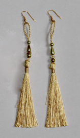Lichtgewicht kwasten Oorbellen GOUDGEEL met GOUD - Extra Long - Lightweight tassel Earrings with GOLDEN YELLOW and GOLD