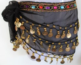 Meisjes buikdans sjaal, Gekleurde steentjes gordel ZWART chiffon, met GOUDEN kraaltjes en muntjes voor meisjes - XXXS - Bellydance hipbelt with colored stones for girls BLACK chiffon, GOLD decorated with beads and coins