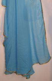 Sluier halfrond met paillettenrand turquoise turkoois blauw goud - Veil halfcircle cyan