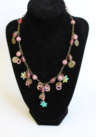 Fantasie halssnoer halsketting ZILVER, ROZE, ROSE, VIEUX ROSE met kralen, muntjes en bloemetjes - Fantasy 1 - Fantasy Necklace, chain, SILVER, shades of PINK  with coins, flowers and beads