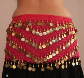 Muntjes gordel op  chiffon FUCHSIA FEL ROZE met GOUD - G34 - Coinbelt chiffon FUCHSIA BRIGHT PINK with GOLDEN coins and beads