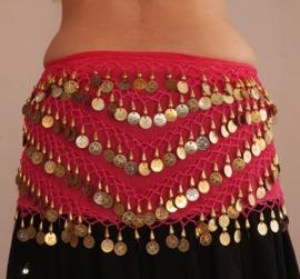 Muntjes gordel op  chiffon FUCHSIA FEL ROZE met GOUD - G34 - Coinbelt chiffon FUCHSIA BRIGHT PINK with GOLDEN coins and beads