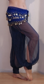 Harembroek transparant MARINE BLAUW chiffon met split en klittenband sluiting aan de enkels - Extra Small, S Small, 34 / 36 - transparent harempants with long slit in very dark NAVY BLUE