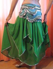 Rok Orientaals tulpmodel GROEN zilver -  Small Medium -skirt Oriental tulip GREEN silver