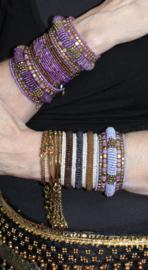 Flexibele Kraaltjes armband Ibiza stijl 3D WIT GOUD BRUIN ANTRACIET /OLIE kleur - Flexible Beaded bracelet Ibiza fashion style 3D WHITE GOLD BROWN  OIL color