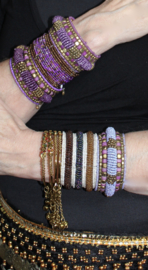 3D Armband Indian Tribal kraaltjes LILA PAARS GOUD - one size - 3D bracelet Indian Tribal PURPLE GOLD
