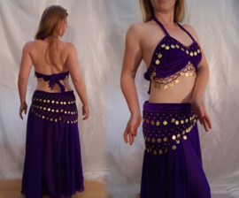 2-delig setje BH en heupgordel van fluweel PAARS GOUD - 2-piece set bra + hip belt velvet PURPLE GOLD, coins decorated